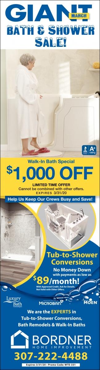 Giant Bath & Shower Sale!