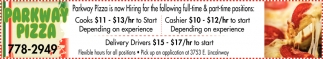 Cooks, Cashier & Delivery Driver