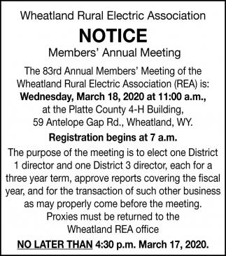 Notice Members' Annual Meeting