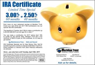 Ira Certificate Meridian Trust Federal Credit Union Cheyenne Wy